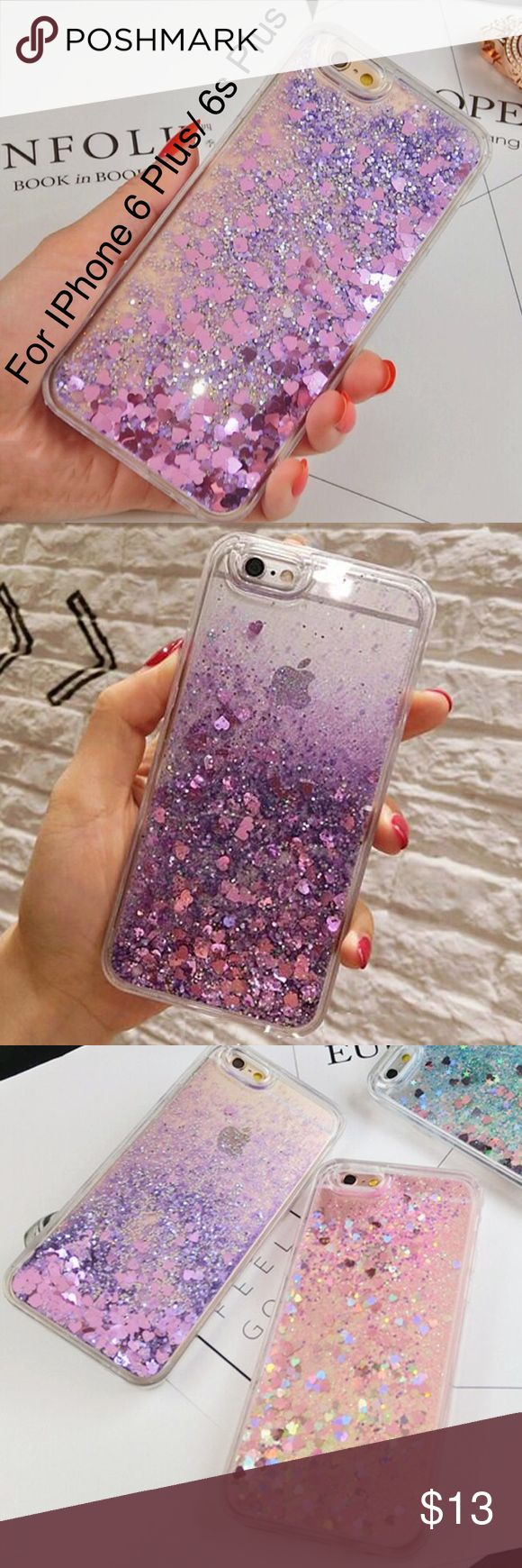 Purple Glitter Hearts Liquid IPhone Hard Case This is for IPhone 6 Plus or 6s Plus (Not for IPhone 6 or 6s). Brand new. Color Purple. Good quality. Very stylish. Hard case. No trade. Browse my closet to see more phone cases. Follow me to see new listings. Accessories Phone Cases
