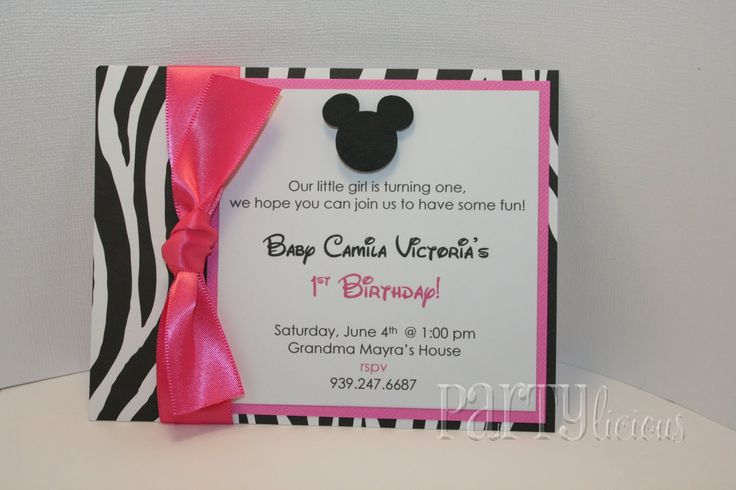 minnie mouse zebra birthdayMinnie Birthday, Birthday Parties, Pink Baby, Birthday Invitations, Minnie Mouse, Minnie Parties, 1St Birthday, Mouse Zebras, Birthday Ideas