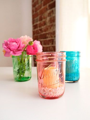 Add a colorful touch to your home -- just dye mason jars with food coloring and Mod Podge #masonjars