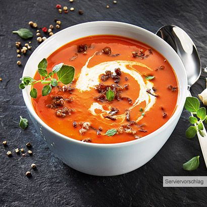 aldi nord rezept tomaten cremesuppe mit w rzigem hackfleisch suppen p riert pinterest. Black Bedroom Furniture Sets. Home Design Ideas