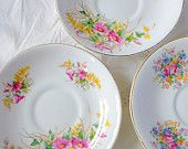 3 Vintage China Royal Tara Saucers in a Floral Pattern