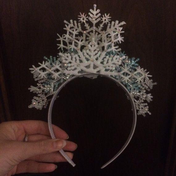 Snow Flake Ice Queen Crown Elsa Fairy Bridal Princess Headdress Frozen Maiden…