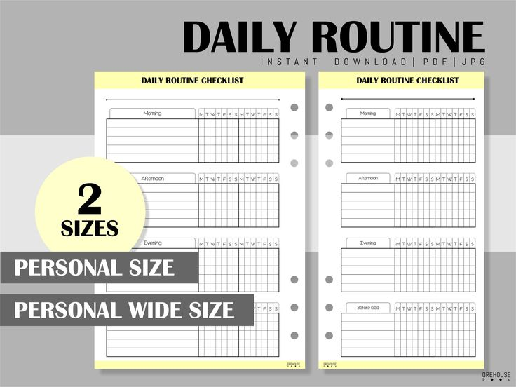 Daily routine chart To Do list Filofax Personal size insert Printable inserts Ch…