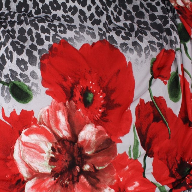 ITY Knit Jersey 1 Metre Panel - Red Poppies & Leopard - Distinctive Sewing Supplies