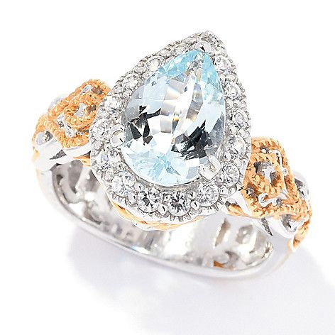 169-440 - Gems en Vogue  2.44ctw Pear  Shaped Aquamarine  & White Zircon  Halo Ring
