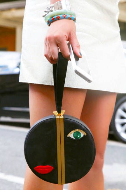 "Lily Kwong at NYFW wearing a DVF handbag. - Elle.com ""Street Chic: Its All in the Detail"" #2231"