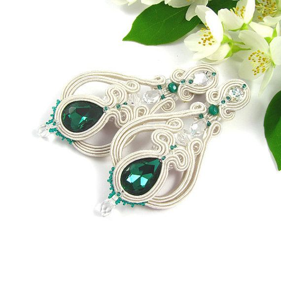 SOUTACHE EARRINGS Bridal Wedding Jewelry Chandelier Earrings turquise green…