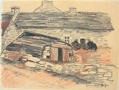 Maison de l'île de Batz, avec lun canot coupé servant d'abri, selon un usage fréquent dans les communautés littorales pratiquani la collecte du goémon, dessin aux crayons de couleur de Yvonne Jean-Haffen