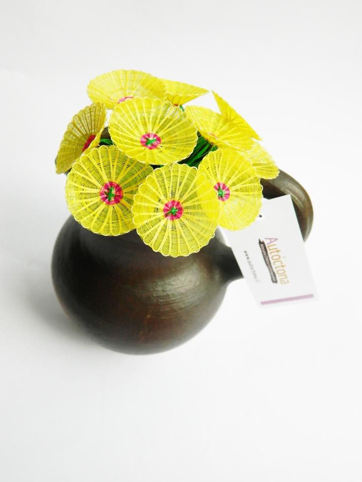Horsehair flowers in clay mug, #flowers