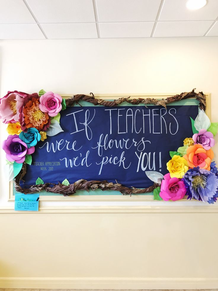 Teacher Appreciation bulletin board - flower theme; tissue paper and craft paper flowers. Have parents write notes to the teachers using blank leaves.