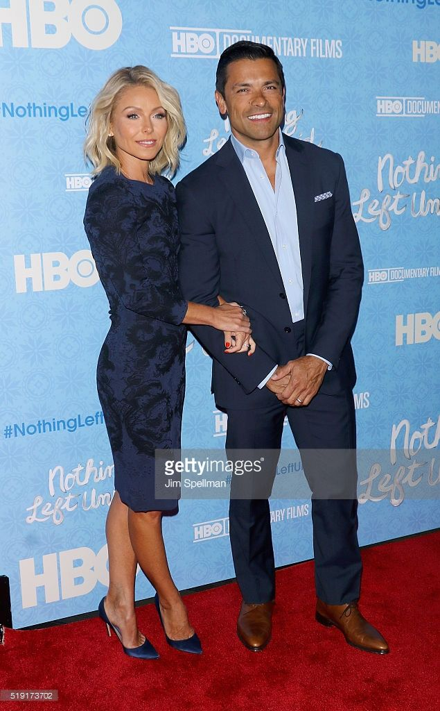 Actress/TV personality Kelly Ripa and actor Mark Consuelos attend the 'Nothing Left Unsaid' New York premiere at Time Warner Center on April 4, 2016 in New York City.