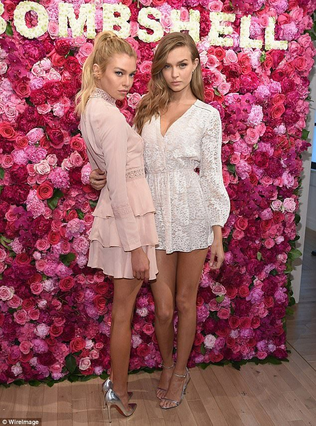 Born to model: Victoria's Secret Angels Stella Maxwell and Josephine Skriver slipped on their spring best for the launch of the company's Bombshell fragrance on Wednesday in NYC