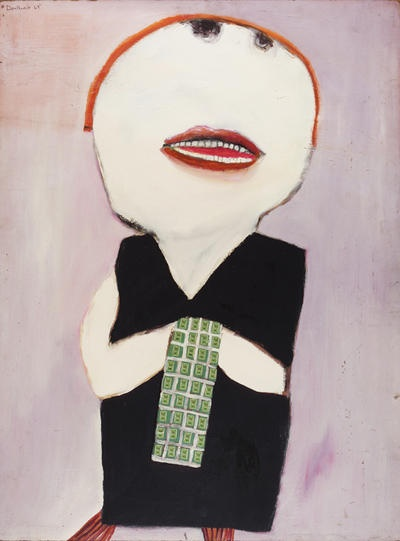 Girl in a Black Dress  1969  Oil and collage on board    Pat Douthwaite