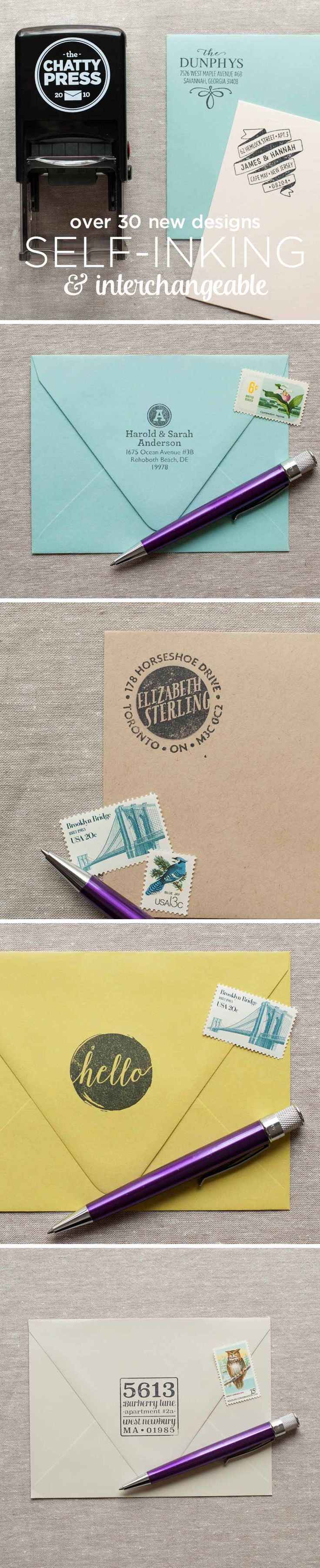 Self Inking interchangeable Address Stamps from the Chatty Press! Mix and match your favorite designs, they're easy to swap out when it's time to move!
