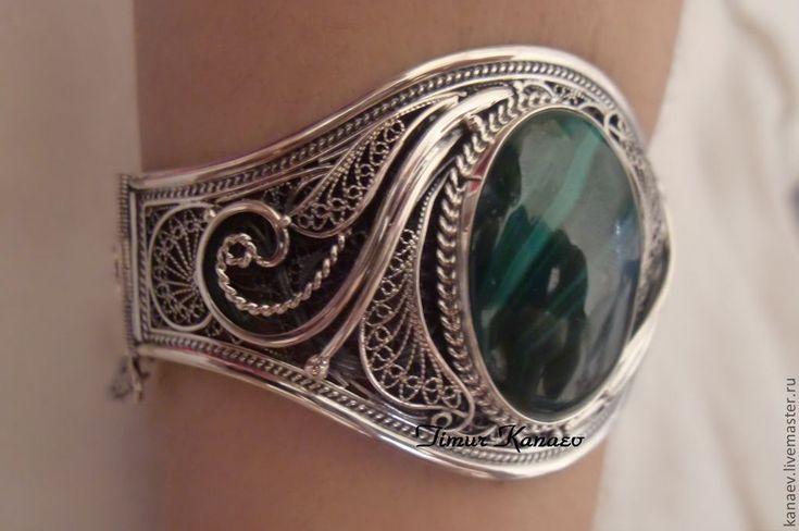 Купить Кубачи !!! Серебряный браслет , Малахит !!!! - тёмно-зелёный, кубачинское серебро