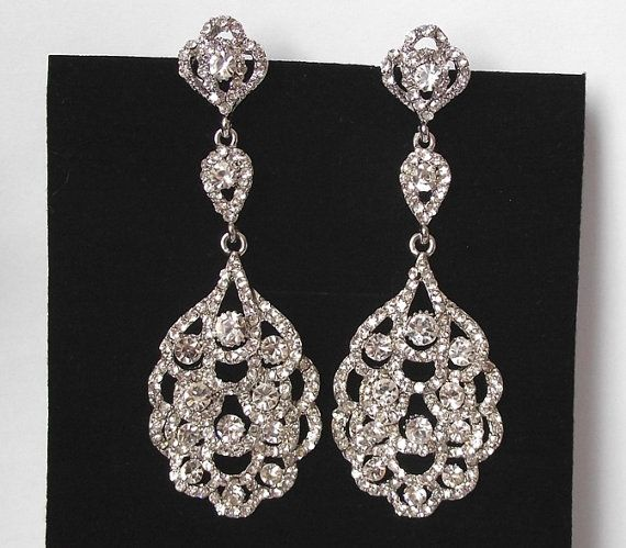 Crystal Chandelier Bridal Earrings Long by nefertitijewelry2009, $49.50