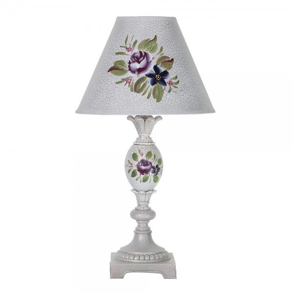 Pedestal Hand Painted Table Lamp With Floral Design - White from Litecraft