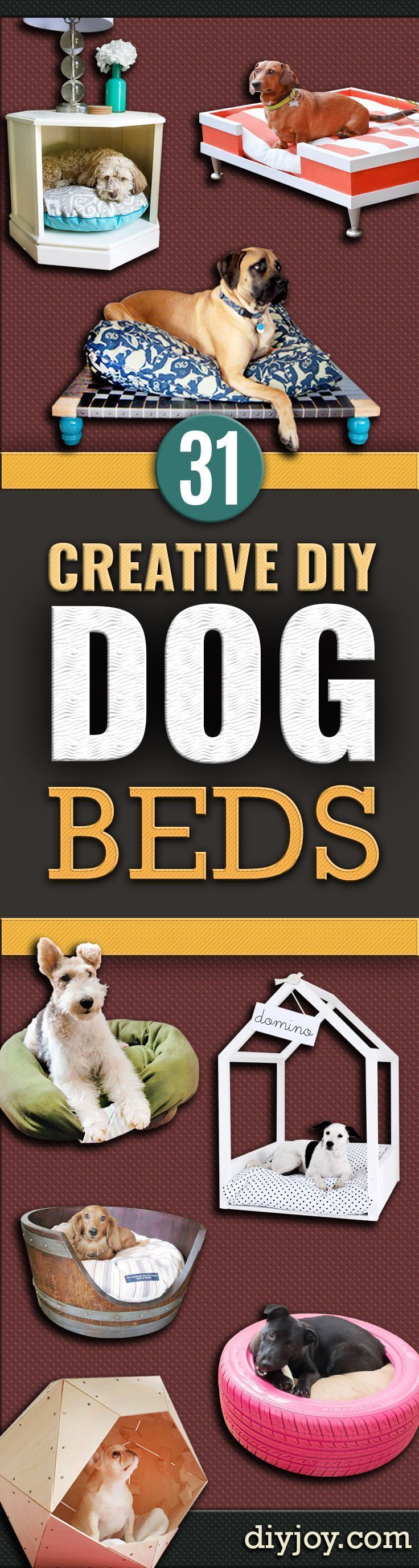 DIY Dog Beds - Projects and Ideas for Large, Medium and Small Dogs. Cute and Easy No Sew Crafts for Your Pets. Pallet, Crate, PVC and End Table Dog Bed Tutorials http://diyjoy.com/diy-dog-beds #dogawesomeideas