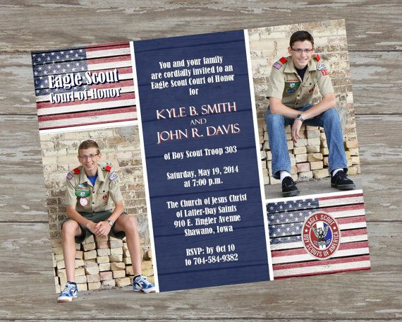 Eagle Scout Court Of Honor Invitations Rustic Photo Design Digital
