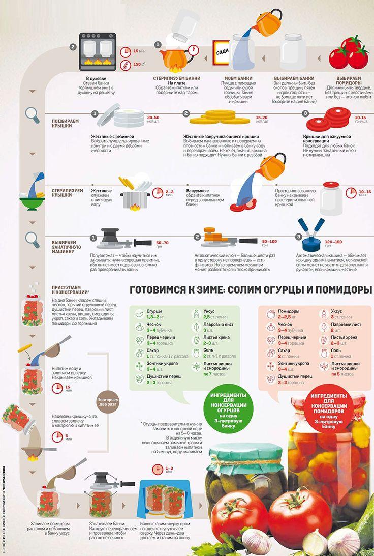 Инфографика. Готовимся к зиме: солим огурцы и помидоры. Стерилизуем и моем банки, выбираем помидоры, подбираем и стерилизуем крышки, выбираем закаточную машинку, приступаем к консервации