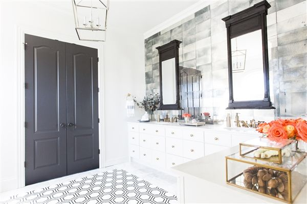 Celebrity Home Decor Alert! Jason Aldeans' Nashville Home features Mission Stone Tile's Hex Appeal Mosaic Tile, and 3x12 Antiqued Mirrored Glass Tile Interiors By April Dawn Interiors Photo By Alyssa Rosenheck