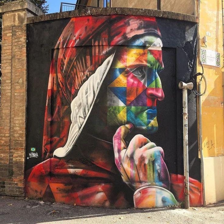 Dante Alighieri - A New Mural by Street Artist Kobra in Ravenna (Italy) |  idDante project