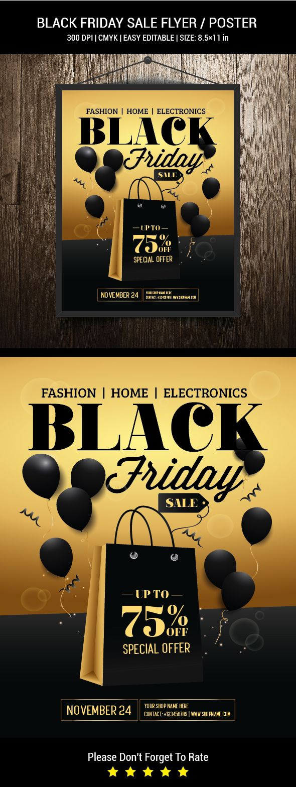 Black Friday Sale Flyer / PosterPerfect for black friday sale, sale poster, shop, shopping, corporate poster, discount, gift, hot sale.