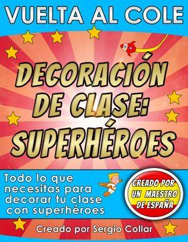 Decoracin del aula: Everything you need to set up your superhero themed classroom! This pack (over 350 pages) includes:-Calendar Set : 14 pages.-Months posters: 12 pages.-Behavior management chart: 3 pages.-Door super heroes: 5 pages.-Daily schedule cards: 33 schedule labels and 6 blank schedule labels: 13 pages.-10 subjects posters: 10 pages:Arte, biblioteca, comida, matemticas, msica, lectura, ciencias, sociales, espaol, escritura. -10 student binder covers: 8 pages:Arte, matemticas…