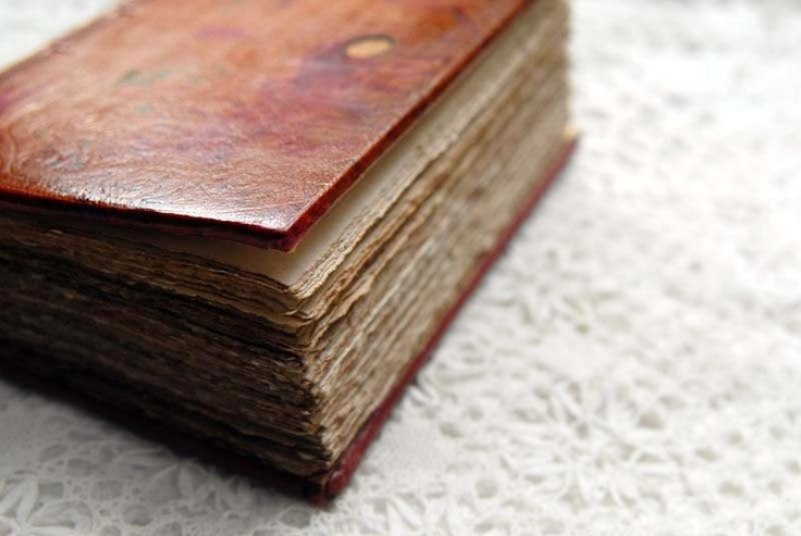 1929 - Vintage Leather Journal, Embossed Red Leather, Coptic Stitched, Tea-Stained Pages OOAK.