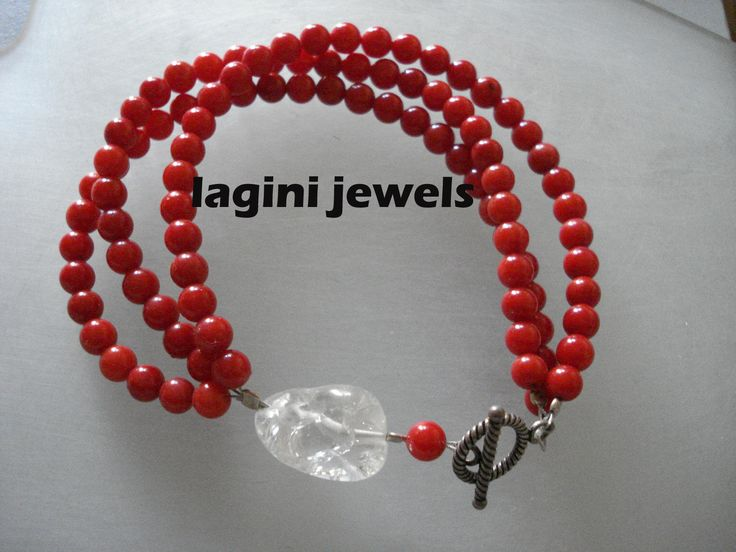 handmade  bracelet of corals,mineral crystal and silver clasp