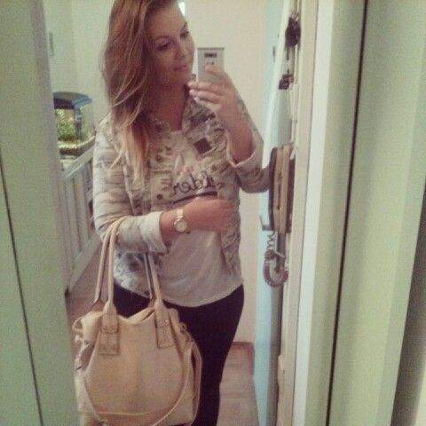 OOTD #shirt #handbag #jacket #ombrehair #watches #leggins