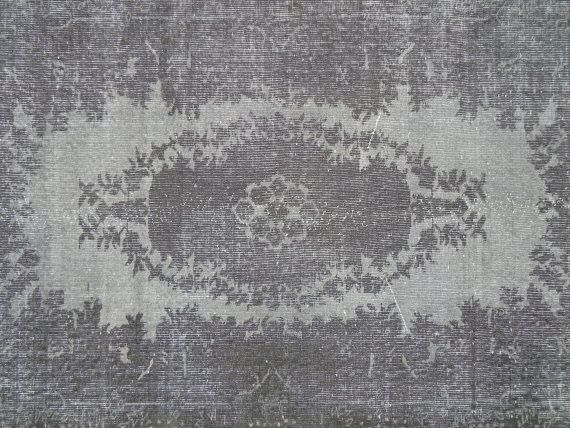 4x7 Ft 122x213 cm Charcoal Gray Color Overdyed by WeMakeRugs, $349.50