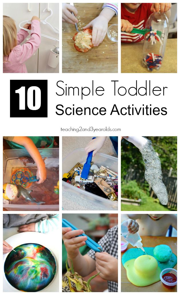 These 10 simple toddler science activities only take minutes to set up. Perfect for 2 year olds and can be done at home or at school. Hands-on fun!