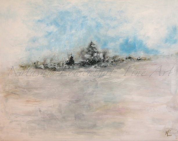"""""""the Settlement"""" by Natasha Lowenthal. acrylic on canvas, prairie winter, winter abstract, fine art"""