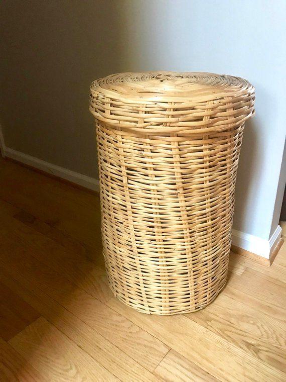 Large Boho Basket Retro Linen Basket Tall Laundry Basket