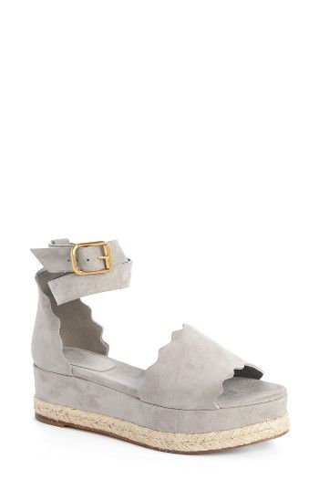 Free shipping and returns on Chloé Lauren Espadrille Wedge Sandal (Women) at Nordstrom.com. An open-toe sandal cut from lush suede features a ladylike scalloped topline balanced by an espadrille platform wedge.