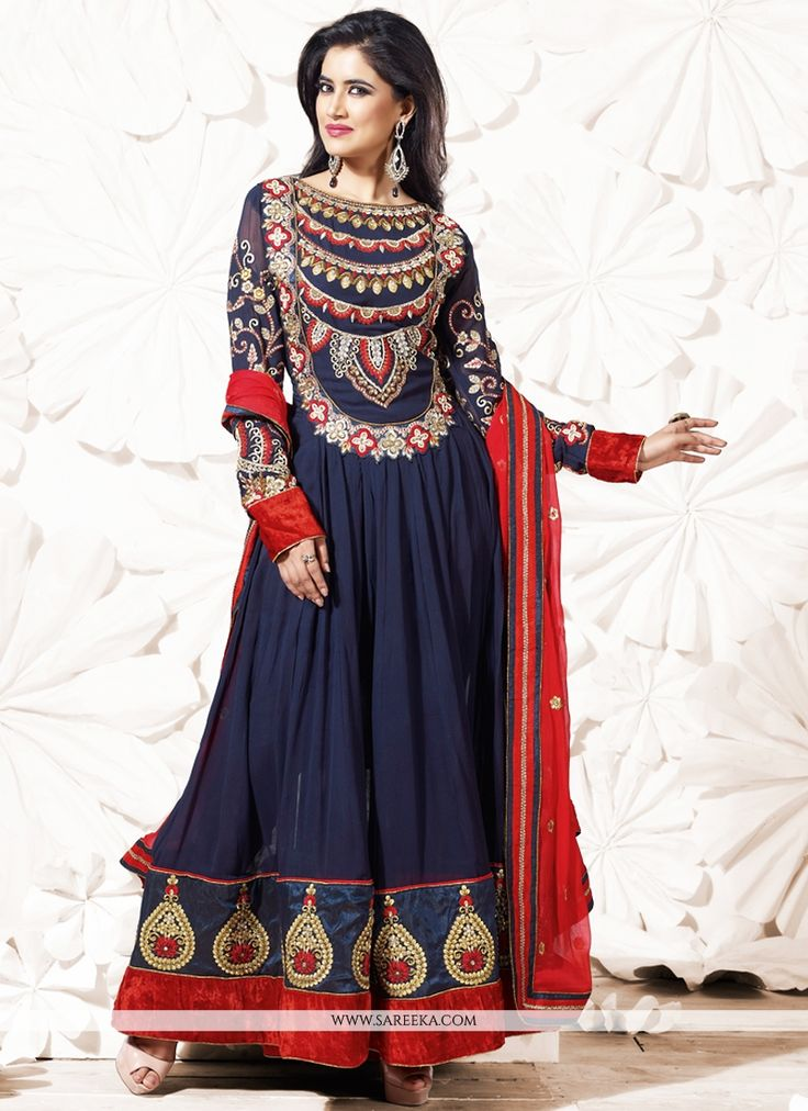 Navy Blue Embroidery Work Anarkali Suit