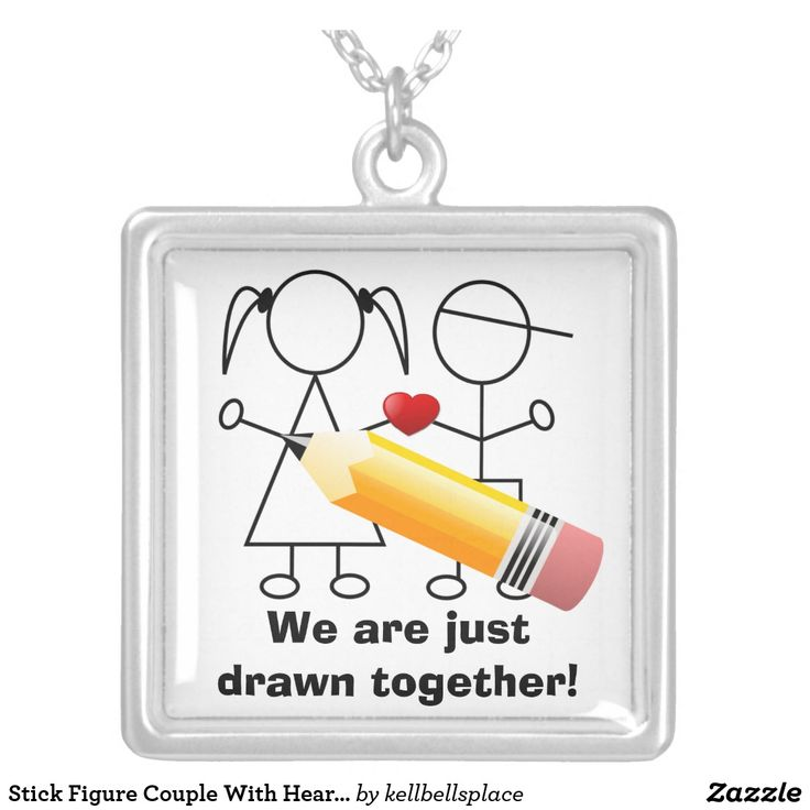 """""""We Are Just Drawn Together!"""" Stick Figure Relationship Couple With Heart Necklace (You can customize it if you want)"""