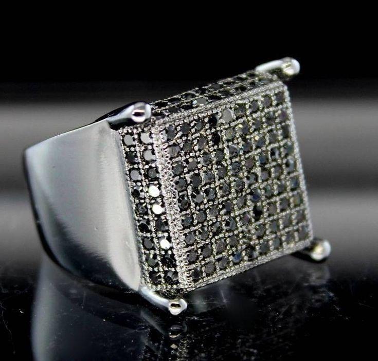 MENS ROUND CUT BLACK DIAMOND WEDDING PINKY BAND WITH WHITE GOLD FINISH #899 #br925silverczjewelry #MensWeddingPinkyRing