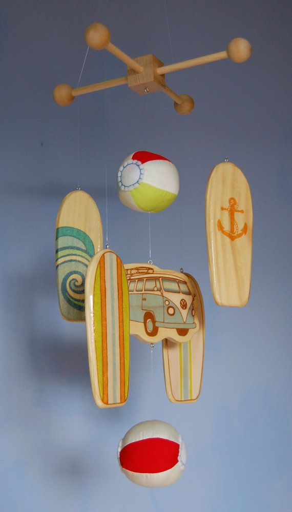 Baby Mobile - Surfboards and Beach Balls - Wooden Mobile for a Beach Themed Nursery on Etsy, $80.00