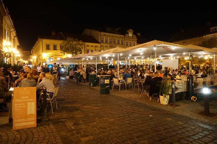 Busy hot summer nights - Old Town Square in Bielsko-Biala, Poland