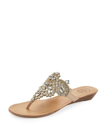 Amee+Embellished+Thong+Sandal,+Neutral+by+Premium+Collection+by+Yellow+Box+at+Neiman+Marcus+Last+Call.