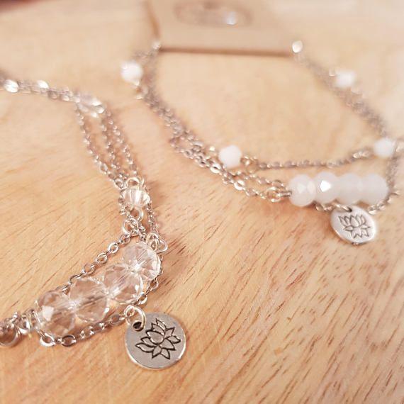 Fine Silver Crystal Charm Layered Bracelet  silver bracelet