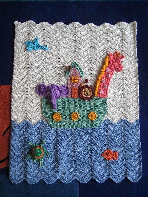 Noah's ark blanket - do the water in different shade of blue and add a rainbow - would be so cute!