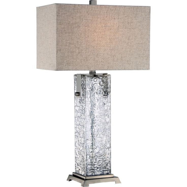 """Quoizel Q2597T Maze 1 Light 29"""" Tall Accent Table Lamp with Linen Fabric Shade Brushed Nickel Lamps Table Lamps Accent Lamps"""