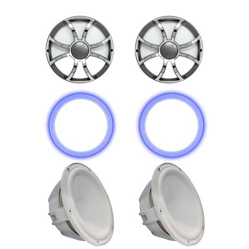 """Two Wet Sounds Revo 10"""""""" Subwoofers, Grills, & RGB LED Rings - White Subwoofers & Gunmetal Steel Grills - 4 Ohm"""