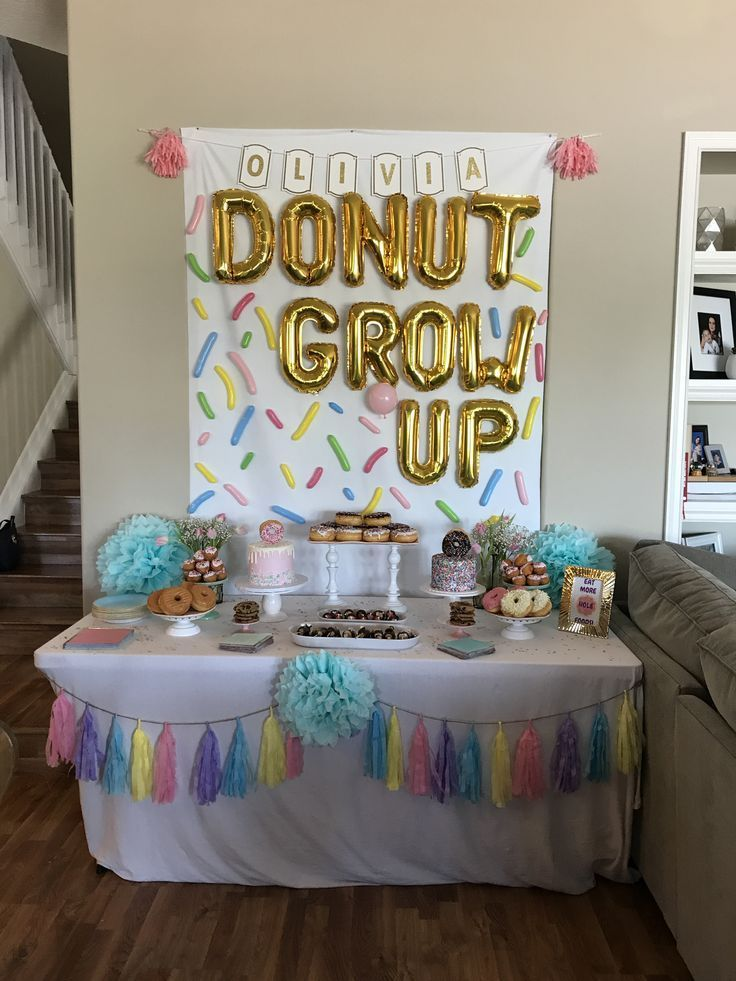 First Birthday Party On A Budget Donut Themed Birthday Party Donut Birthday Parties Donut Grow Up Party