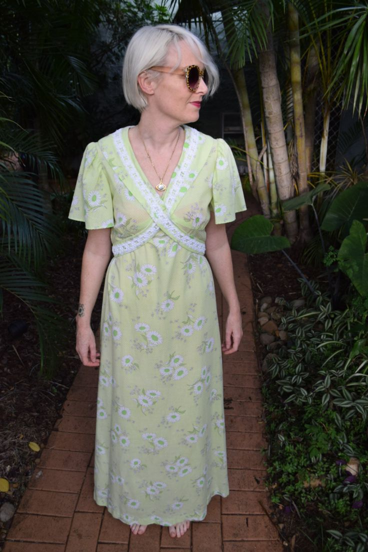 Vintage Seventies Green Patterned Maxi-dress by GingerPopVintage on Etsy