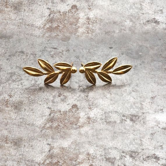 Gold Olive Leaves Earrings Olive Twig Stud Earrings by GreekMythos