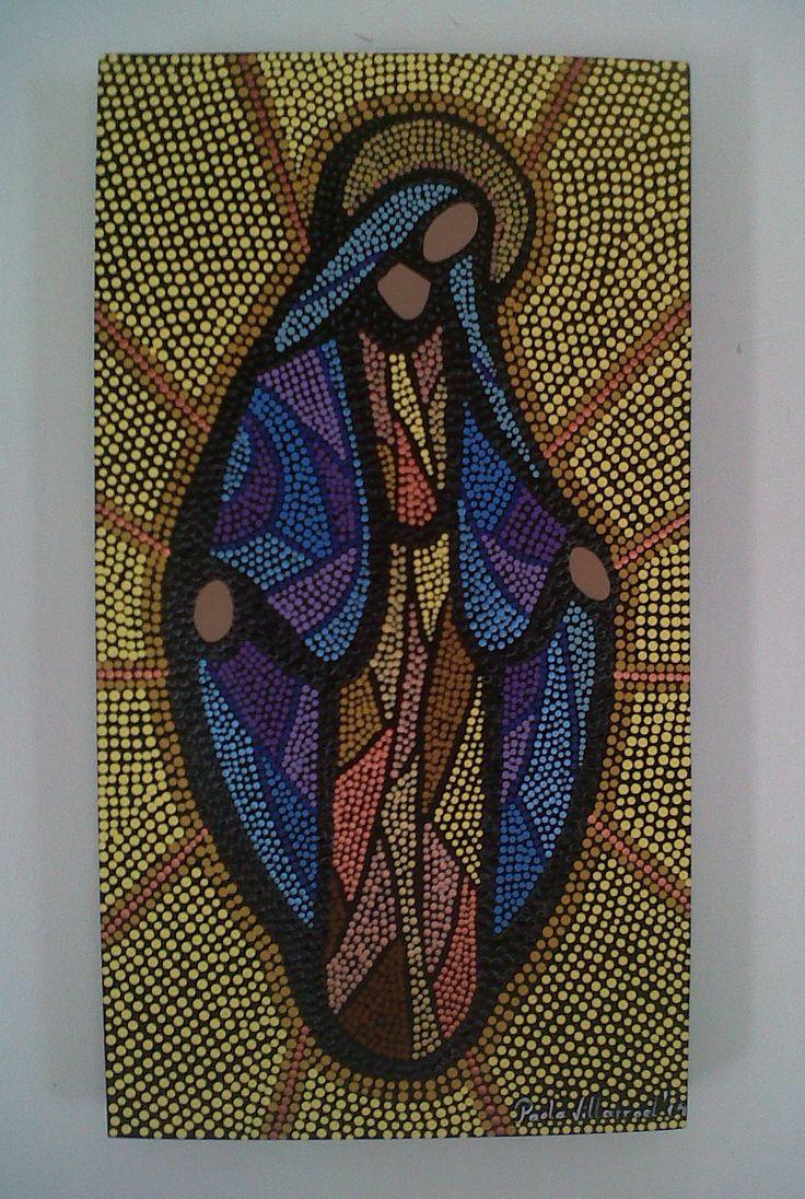 Hermoso cuadro de virgen pintada en puntillismo / Virgin pointillism